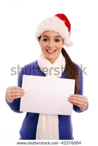 Girl holding blank sign on white background - stock photo