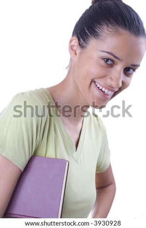 girl holding  book - stock photo