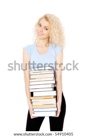 girl holding books - stock photo