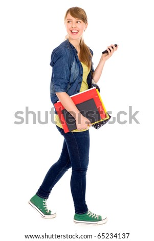 Girl holding books - stock photo