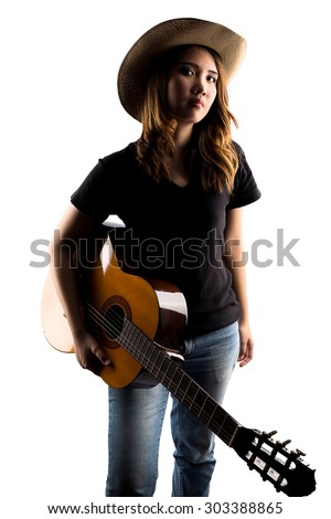 girl holding classic guitar isolate on white - stock photo
