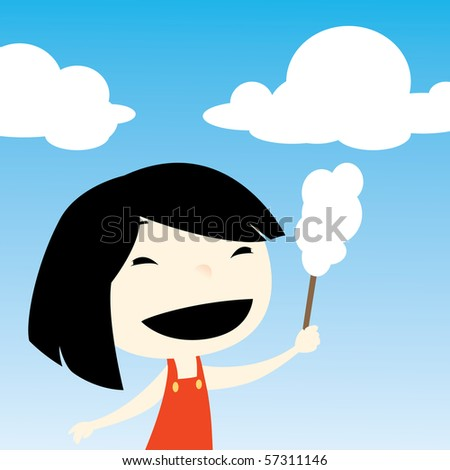 girl holding cotton candy - stock photo