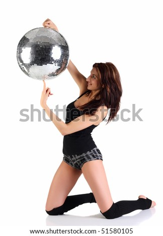Girl holding disco ball isolated on the white background - stock photo