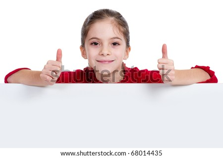 girl holding empty board