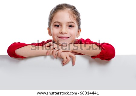 girl holding empty board - stock photo