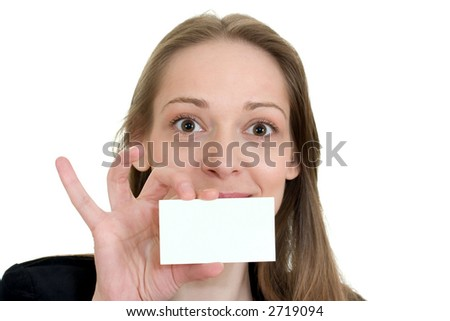 Girl holding empty business card in front of her mouth, isolated on white background