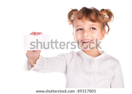 girl holding empty card isolated on a white background - stock photo