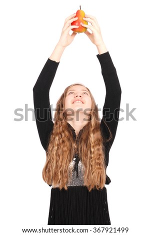 Girl holding fresh pear isolated on white - stock photo