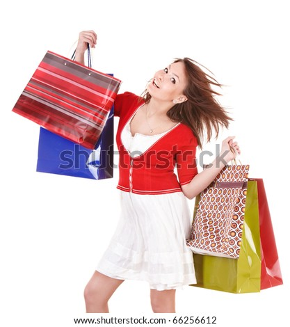 Girl holding group shopping bag. Isolated