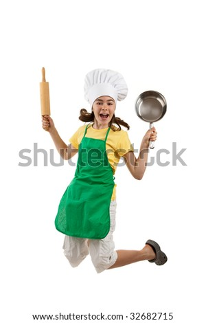 Girl holding kitchenware jumping isolated on white background - stock photo