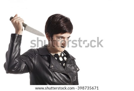 girl holding knife - stock photo