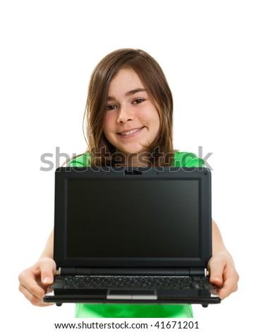 Girl holding laptop isolated on white background - stock photo