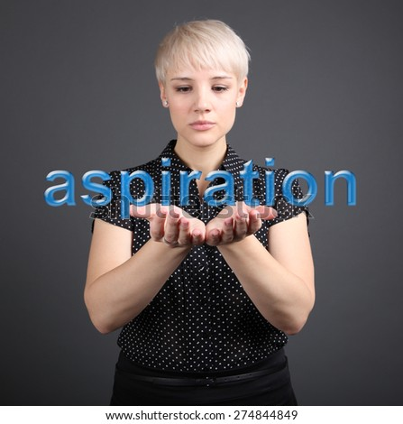 Girl holding motivation sign - business concept - stock photo