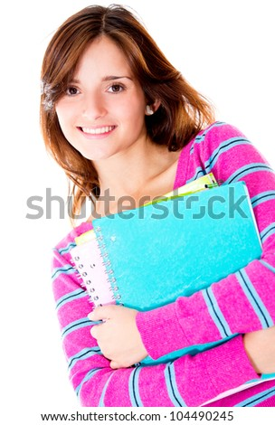 Girl holding notebooks and smiling - education portrait