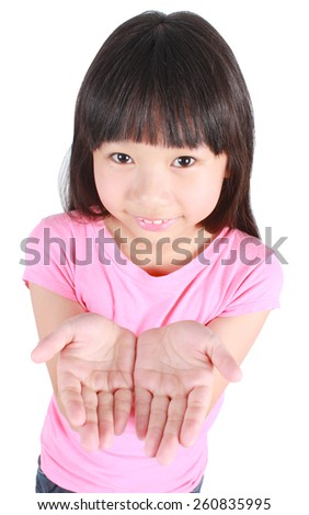 Girl holding open palm empty hand emotion isolated on white background - stock photo