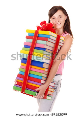 Girl holding pile of  book. Isolated.