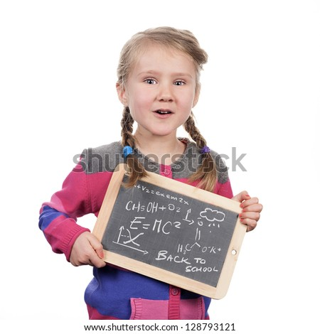 girl holding slate on white background