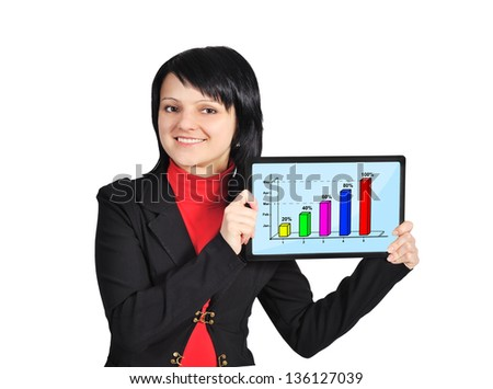 girl holding tablet with chart on screen - stock photo