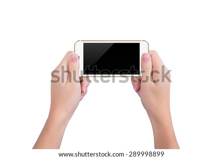 Girl holding the gold phone
