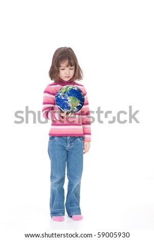 Girl holding world in hand. Isolated on white.