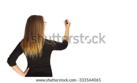 Girl holds a marker in a hand - stock photo