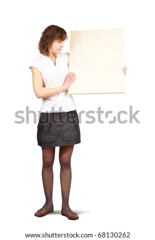 girl holds blank canvas. It is isolated on a white background - stock photo