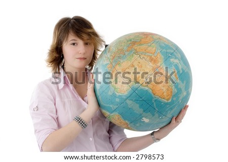 Girl holds the globe in hands