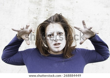 Girl hopeless lunatic, madness and sadness - stock photo