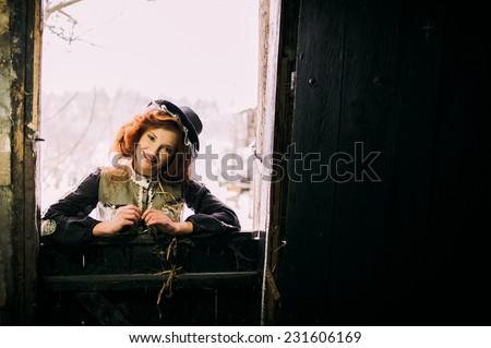 girl in a barn - stock photo