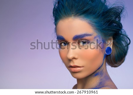 girl in a blue - stock photo