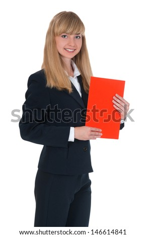 girl in a business suit holding a colored folder in hand