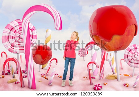 Girl in a Candy land - stock photo