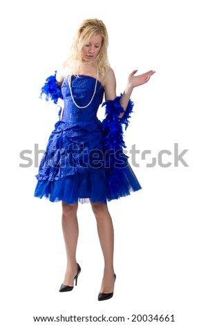 Girl in a dark blue evening dress isolated on a white background