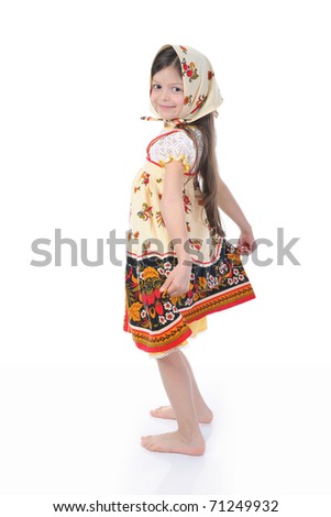 girl in a dress dances. Isolated on white background