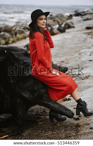 girl in a dress on the shore