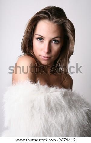 Girl in a fur - stock photo