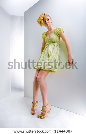 girl in a green dress. In all growth. In the studio