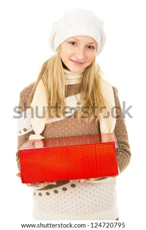 girl in a hat holding a gift box - stock photo