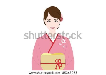 girl in a kimono isolated on white background - stock photo