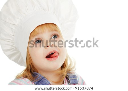 girl in a kitchen hood - stock photo