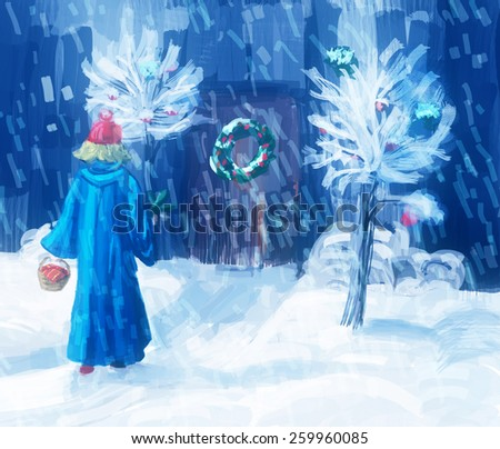 Girl in a long coat with a sprig in one hand and a basket in the arc. Next door todecoration Christmas wreath. Digital drawing, sektch - stock photo