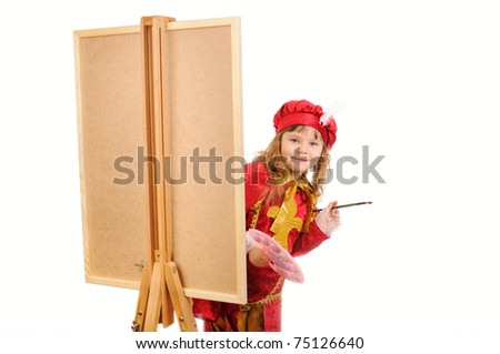 Girl in a red historical suit with a brush near an easel on a white background - stock photo