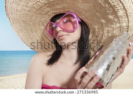 Girl in a sombrero  - stock photo
