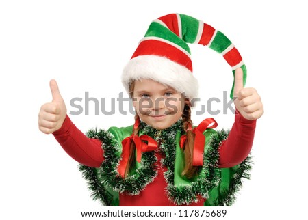 Girl in a suit of elf Santa. Isolated on the white background - stock photo