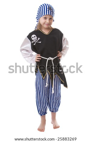 Girl in a suit of the pirate isolated on a white background