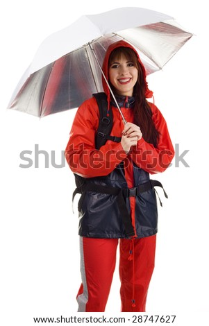 Girl in a waterproof suit, isolated on white background - stock photo