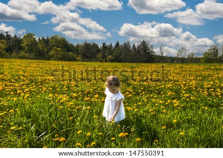 girl in a white dress standing in the middle of the field strewn with yellow dandelion flowers