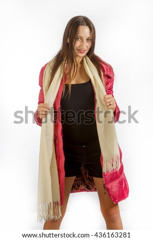 girl in a white scarf. Beautiful smiling girl.  - stock photo