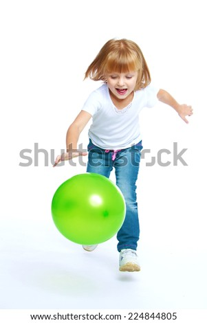 Girl in a white T-shirt runs, I note, isolated on white background. - stock photo