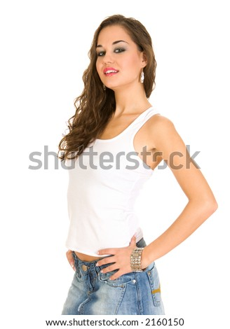 Girl in a white top posing, against white